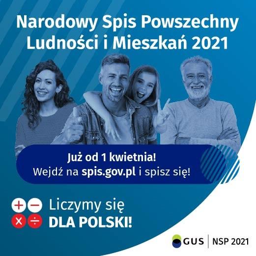 """grafika znapisem"""" Narodowy Spis Ludności iMieszkań 2021"""" Liczymy się dla Polski"""